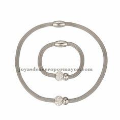 collar y pulsera de bolita plateado para mujer-SSNEG81908