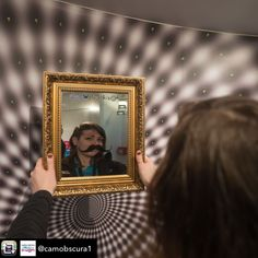 This image is of a mirror we laser engraved with the World Of Illusion logo and a moustache to remind people that during they should take a bit of time for self care.