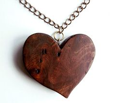Elm Burr Wood Heart Necklace. Wooden Pendant Hand by FluffyFenris