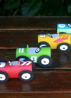 Put those empty paper toilet tubes to good use with this cute recycled car craft! Your little speedster will have so much fun decorating his DIY paper tube cars.