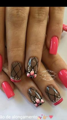 Attention to the semi-permanent varnish - My Nails Glam Nails, Hot Nails, Pink Nails, Hair And Nails, Red Nail Designs, Simple Nail Art Designs, Classic Nails, Flower Nails, Creative Nails
