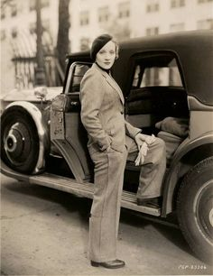 Marlene Dietrich pictured with her Phantom I Rolls Royce sedan, which was given to her when she moved to the U.S. from Germany in 1930.  Dietrich was often photographed being chauffeur-driven around Los Angeles in her Rolls Royce and the car even featured in her first Hollywood film Morocco in 1930.