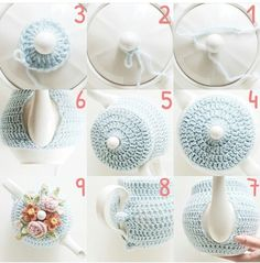 Intro: How to Knit a 'proper' English Tea Cosy!Americans don't know what a tea cosy is! Crochet Diy, Crochet Motifs, Crochet Home, Crochet Geek, Tea Cozy Crochet, Hand Crochet, Teapot Cover, Knitting Patterns, Crochet Patterns