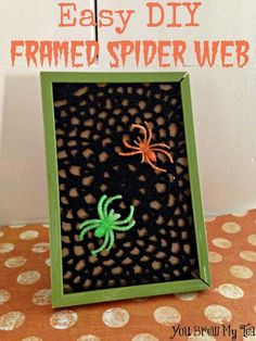 Looking for a last minute Halloween kids craft or decoration? Check out our Easy DIY Framed Spider Web! What a great Halloween Craft idea for kids!