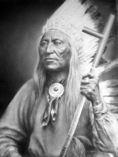 * Chief Washakie: Chief Washakie was born to a Flathead (Salish) father and and Lemhi Shoshone mother.His prowess in battle, his efforts for peace, and his commitment to his people's welfare made him one of the most respected leaders in Native American history. Upon his death in 1900, he became the only known Native American to be given a full military funeral ~ Artist by: steeelll *