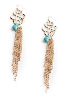 Hourglass Tassel Earrings In Turquoise
