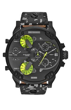 This men's Diesel Mr Daddy watch is made from black ion-plated steel and is fitted with a chronograph quartz movement. It is fastened with a black leather strap and has a black dial. The watch also has a date function. Diesel Watches For Men, Black Leather Watch, Online Watch Store, Online Shopping, Black Stainless Steel, Watch Sale, Watch 2, Men Watch, Men's Accessories