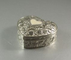 Silverplated Heart Shaped Hinged Casket / Wedding by UBlinkItsGone