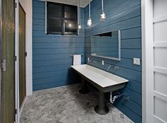 Shiplap Siding Bathroom Industrial with Blue Walls Cross Handles Exposed Plumbing Gray