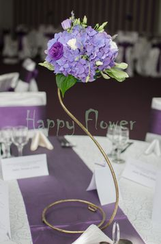 Aranjament sala hortensii mov si lisianthus - Happy Flower - Florarie online