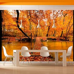"""Durability, waterproof and stripes photomural non-woven fabric Wall mural """"A bridge in an autumnal forest"""" to stick on the wall. Wall Mural """"A bridge in an autumnal forest"""" with an inspiring theme will be an impressive ornament to any room. Embossed Wallpaper, Star Wallpaper, Wallpaper Panels, Original Wallpaper, Wall Wallpaper, Graffiti Murals, Wall Murals, Paradise Garden, Tile Panels"""