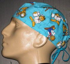 size 40 a07b5 99330 Garfield the Cat on EKG lines Surgical Scrub Hat