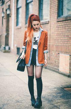 camisa jeans + blazer