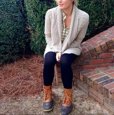 Cardigan + Plaid + Leggings + Bean Boots