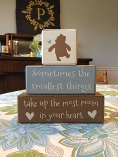 Classic Winnie the Pooh baby nursery decor stacking wood blocks painted distressed blocks playroom baby room centerpiece custom baby gift  on Etsy, $26.95