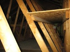 attic storage shelves...I NEED THIS in my shed that has the same angeled useless space roof.