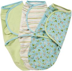 Summer Infant SwaddleMe 3 PK Cotton Knit - Dino Peek- Small/Medium