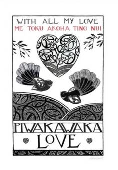 With all my love - Me toku aroha tino nui Nz Art, Art For Art Sake, Maori Words, Maori Designs, New Zealand Art, Maori Art, Machine Embroidery Projects, Kiwiana, Rock Crafts