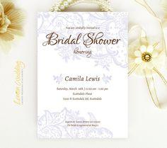 Púrpura encaje nupcial ducha invitaciones - invitaciones de boda elegantes ducha impresión | Baratos de la boda ducha partido invita | Ducha de parejas