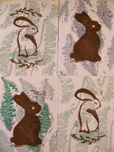 new fern and bunny cards just in time for spring, super fresh, hand printed one at a time, each one is unique