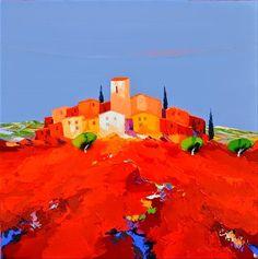 Por amor al arte: Christian Eurgal House Landscape, Palette Knife, Abstract Art, Colours, Canvas, Awesome, Paintings, Provence, Ideas Para