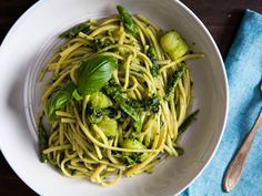 This classic Genovese method of preparing pasta with pesto includes cubes of potato and pieces of green bean, all cooked together in the pasta pot until tender.