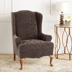 A new concept in stretch slipcovers! The Stretch Jacquard Damask Wing Chair Cover has a raised damask pattern and Living Room Chair Covers, Wingback Chair Slipcovers, Sure Fit Slipcovers, Chair And Ottoman, Stool Chair, Chair Cushions, Bar Stool, Wicker Chairs, Wing Chairs
