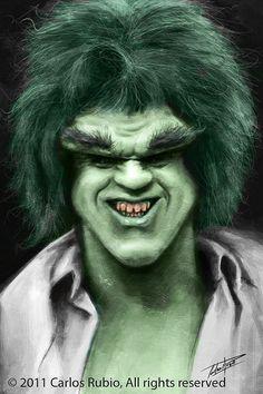 Caricatura de Lou Ferrigno como Hulk