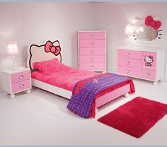 Cuteness.  Hello Kitty Bed room.  How hard would it be to DIY the mirror and headboard out of MDF?