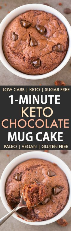 Healthy 1 Minute LOW CARB Chocolate Mug Cake- Light, fluffy and moist in the inside! Packed full of protein and no sugar whatsoever! Chocolate Low Carb, Keto Chocolate Mug Cake, Keto Mug Cake, Chocolate Mug Cakes, Protien Mug Cake, Low Carb Mug Cakes, Mug Recipes, Sugar Free Recipes, Paleo Recipes