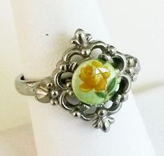 Vtg Rose Flower Decal Glass Cab Silver Tone Adj Ring 7 Renaissance Revival #NotSigned #SolitairewithAccents
