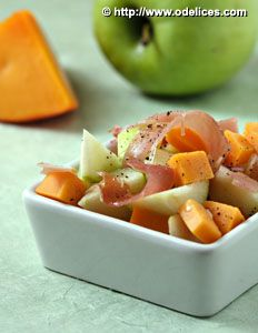 Salade pomme verte, jambon cru et mimolette - Ôdélices : Recettes de cuisine faciles et originales !