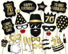 70th birthday photo booth props: printable PDF. by HatAcrobat