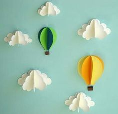 Hot Air Balloon Wall Decal, Paper Wall Art, Wall Decor, Wall Art by goshandgolly on Etsy Paper Wall Art, 3d Wall Art, Balloon Wall, Hot Air Balloon, Paper Balloon, Air Ballon, Balloon Clouds, Balloon Crafts, Balloon Party