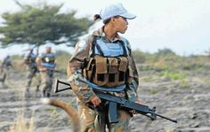 A South African UN peacekeeper on active duty in the Democratic Republic of Congo.  Women on the front lines The South African National Defence Force is the only military in Africa, and one of a few in the world that deploys female soldiers to fight at the sharp end.