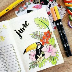 Drawings Ideas Amazing Bullet Journal Monthly Cover Ideas For Summer - Today we're revisiting our favorite topic of bullet journaling! I want to share with you some of the most amazing bullet journal monthly cover ideas… Bullet Journal June, Bullet Journal School, Bullet Journal Spread, Bullet Journal Ideas Pages, Bullet Journal Inspiration, Journal Pages, Journal Covers, Planner Inspiration, Bellet Journal
