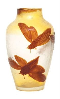A rare martele and cameo glass moth vase by Emile Galle, Nancy,…