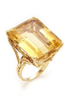 Vintage 14k gold 1950's Citrine Cocktail Ring