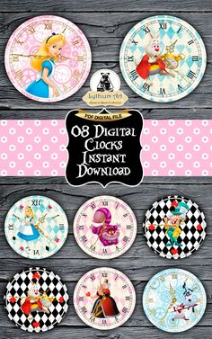 Alice in Wonderland Clocks  Printable Clocks  Disney Alice