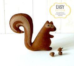Squirrel Sewing Pattern Stuffed Squirrel by LittleSoftieShoppe