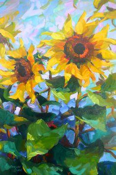 """Sunflowers and Blue Sky"" by Sandra L. Dunn.  36"" x 24"" Oil.    www.maine-art.com."