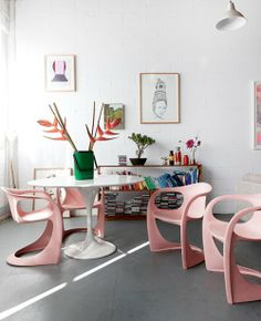 Home: Chairs, soft pink, flowers, white room