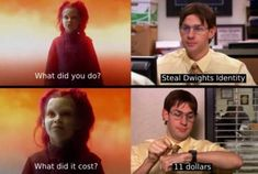 Identity theft is not a joke Thanos Really Funny Memes, Stupid Funny Memes, Funny Relatable Memes, Haha Funny, Funny Quotes, Tv Funny, Hilarious, Funny Stuff, Best Of The Office