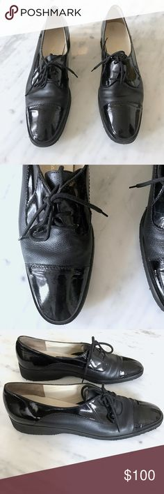 Salvatore Ferragamo Lace Up Patent Leather Shoes Business professional Lace up patent mixed leather shoes by Salvatore Ferragamo. In perfect condition. Salvatore Ferragamo Shoes Flats & Loafers