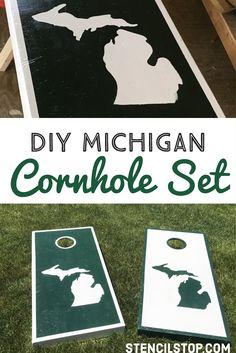 Michigan State Cornhole Boards // Tailgate Game DIY // Stencil Designs // DIY Projects // Wall Stencils // Letter Stencils // Custom Stencils