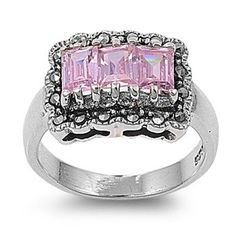 Honna's Three-Stone Emerald Cut Pink Cubic Zirconia Marcasite Ring