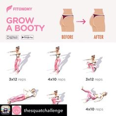 Saved Repost from thesquatchallenge using RepostRegramApp Grow a booty workout For a full booty growing training plan visit Fitness Herausforderungen, Fitness Workouts, Butt Workout, At Home Workouts, Health Fitness, Physical Fitness, Female Fitness, Mommy Tummy Workout, Back Workouts