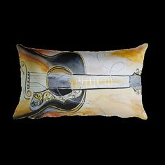 Pillow Watercolor Acoustic Guitar Stringed Instrument by KikajoInk