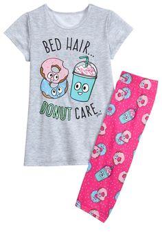 Donut cropped legging pajama set pjs одежда, детская мода, б Pajama Outfits, Kids Outfits, Cute Outfits, Winter Outfits, Summer Outfits, Casual Outfits, Cute Pjs, Cute Pajamas, Fashion 101