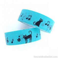 Washi Tape Musical Cat Azul - TWO CATS IN A BASKET